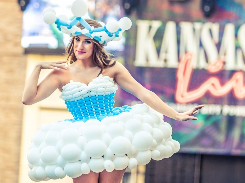 PHOTO: Molly Balloons, of Kansas City, makes a elaborate dresses out of balloons.