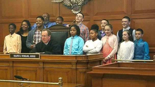 PHOTO: Christopher and Christina Sanders of Ohio adopted six children -- all siblings -- into their family, joining the five children the couple already had.