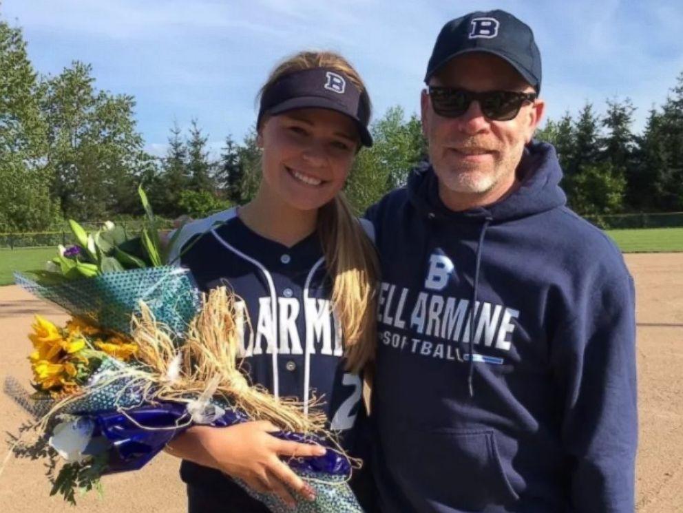 PHOTO: Graduating high school senior Meg Sullivan with her father, Tom.