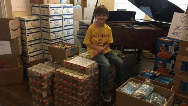 PHOTO: Kaden Newton, 7, of Rockwall, Texas, created his own organization to increase the number of kid-friendly food items at his community pantry and help end child hunger.