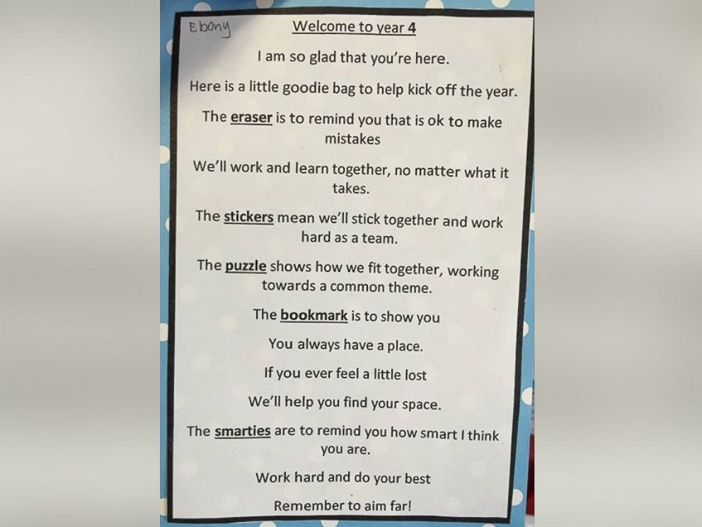 PHOTO: A teacher at Bowen State School in Queensland, Australia, kicked off the new year by welcoming returning students with an inspirational note thats gone viral.