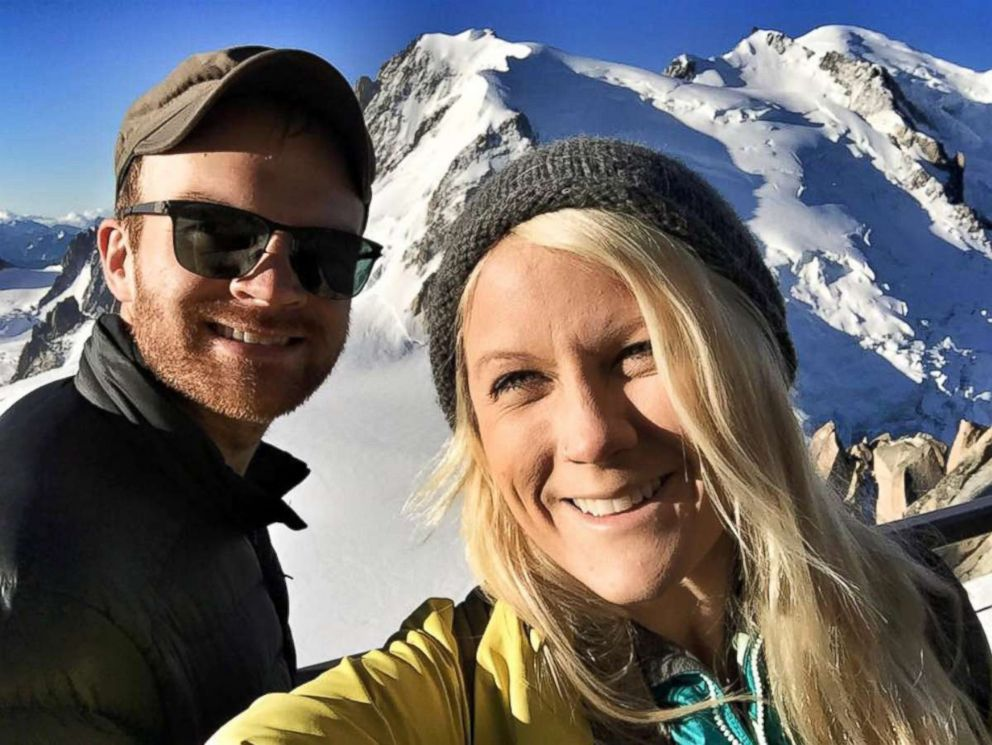 PHOTO: Esther Havens and Austin Mann, pictured on Mont Blanc, were engaged in a Starbucks at the Amsterdam Airport Schiphol years after Mann left her a note hidden in the store.