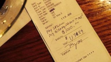 PHOTO: An Albany waiter received a tip nearly 10 times the total bill.