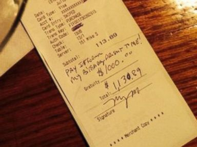 Waiter Receives $1K Tip, Splits It with Colleagues