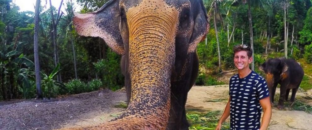 PHOTO: Christian LeBlancs selfie with an elephant in Thailand has gone viral.