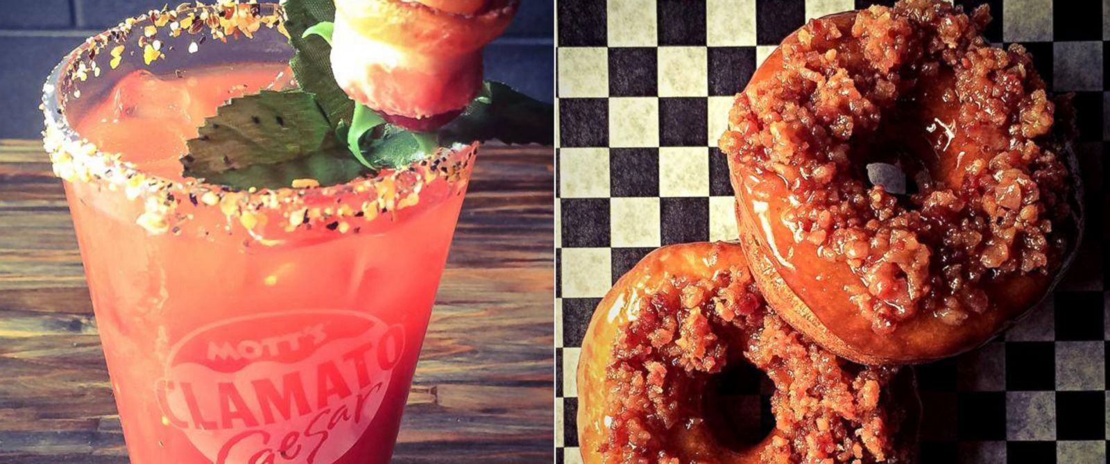 PHOTO: Bar Brutus bacon bloody mary (with bacon vodka) and bacon caramel doughnuts.