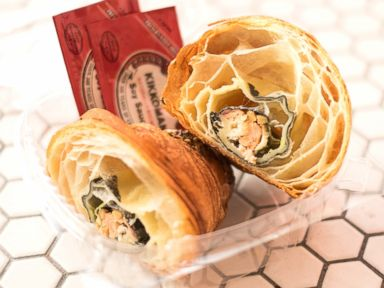 PHOTO: A look inside the California Croissant, which is stuffed with sushi.