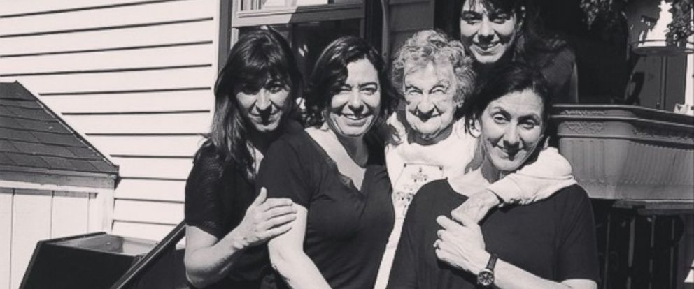 PHOTO: Louise Bonito, 102, pictured with four of her grandchildren.