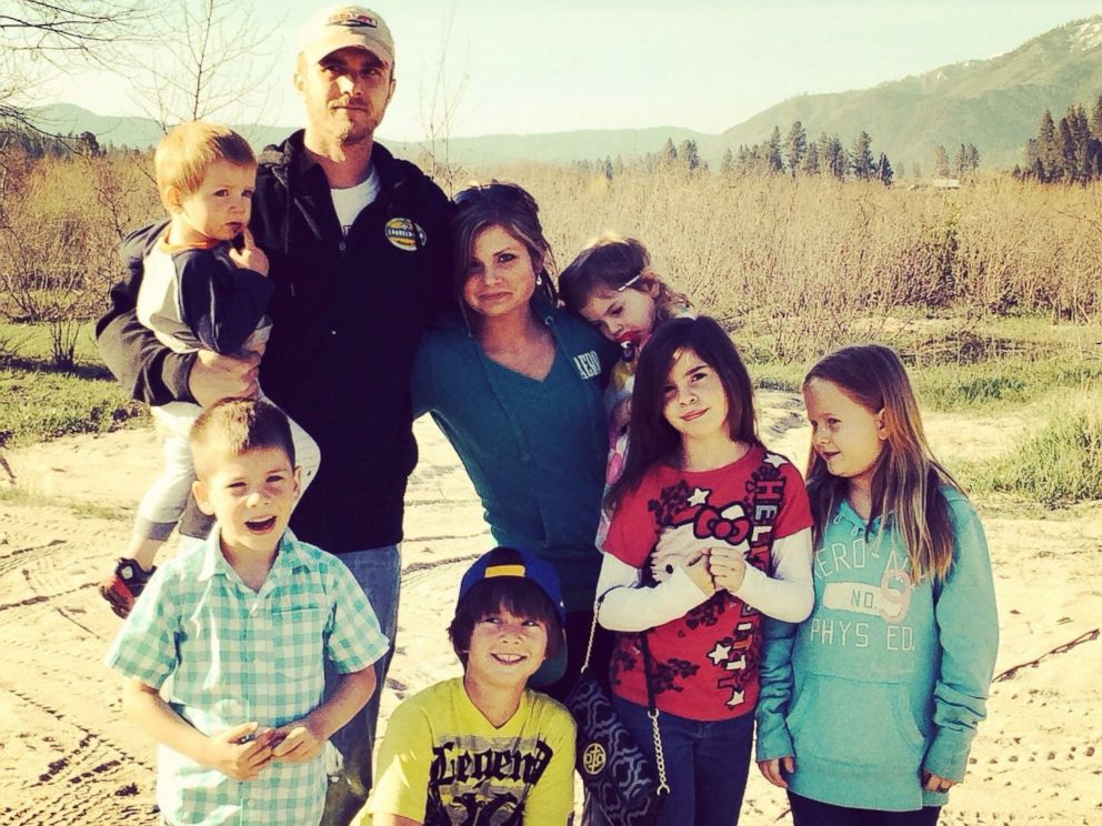 PHOTO: Seen in this undated photo, Ashley Grimm with her husband Nick Grimm and their children, Jonathan, 12, Hannah, 9, Camille, 9, Jude, 8, Ariel, 6, Titus, 4, and Alice, 19 months.