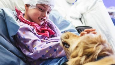 PHOTO: Childrens Healthcare of Atlanta posted this photo to social media with the caption, She thinks we make her day. Trust us, its the other way around. #CHOATherapyDogs.