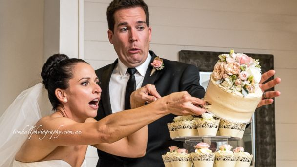 ht cupcakes kb 131115 16x9 608 Couples Epic Wedding Cake Cutting Fail Caught on Camera