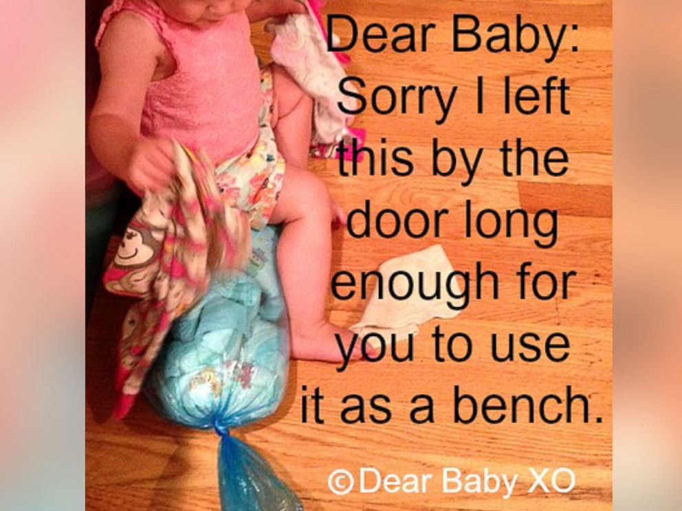 PHOTO: Sarah Showfety posted this photo with the caption, Dear Baby: Sorry I left this by the door long enough for you to use it as a bench.
