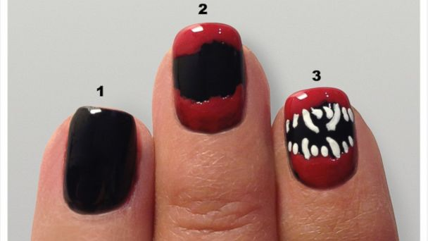 Dracula teeth manicure tutorial.