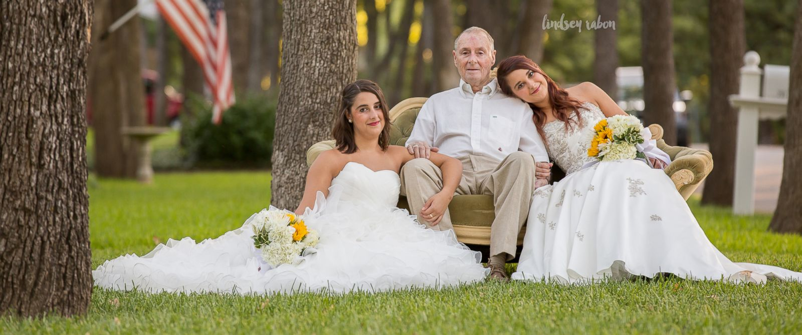 Image result for Twin sisters Sarah and Becca Duncan aren't engaged, but they decided to take wedding photos with their father