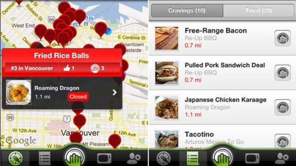 PHOTO: The Eat St. application, developed in partnership with a television program of the same name, provides locations and reviews of food trucks and carts in North America.