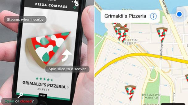 PHOTO: Pizza Compass is a mobile application that uses a pizza slice icon to guide you to the nearest pizzerias.