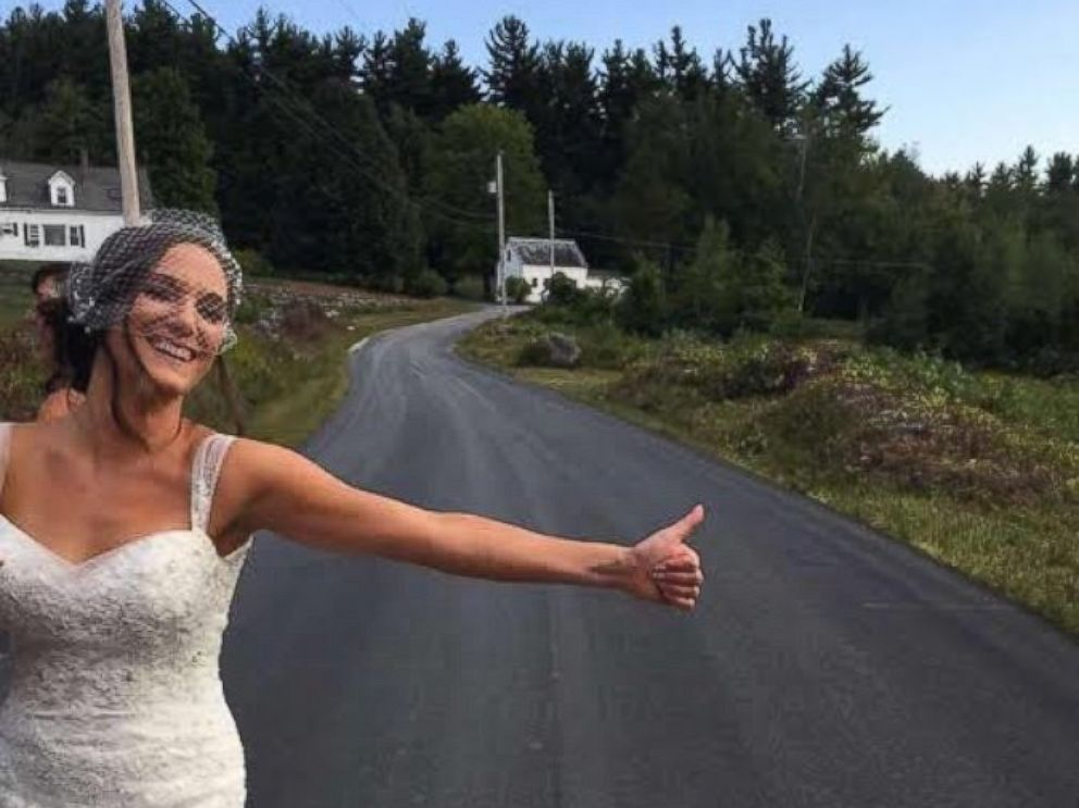 PHOTO: Bride Hitchhikes to Her Own Wedding After Limo Gets Flat Tire