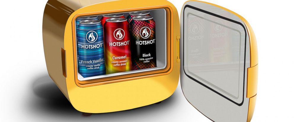 "PHOTO: A special ""hot fridge"" keeps HotShot coffee in a can stored at 140 degrees Fahrenheit."
