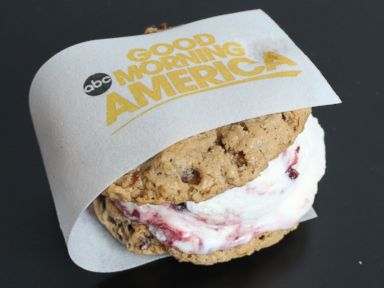 PHOTO: Coolhaus Good Morning America berry yogurt and oatmeal raisin cookies ice cream sandwich.