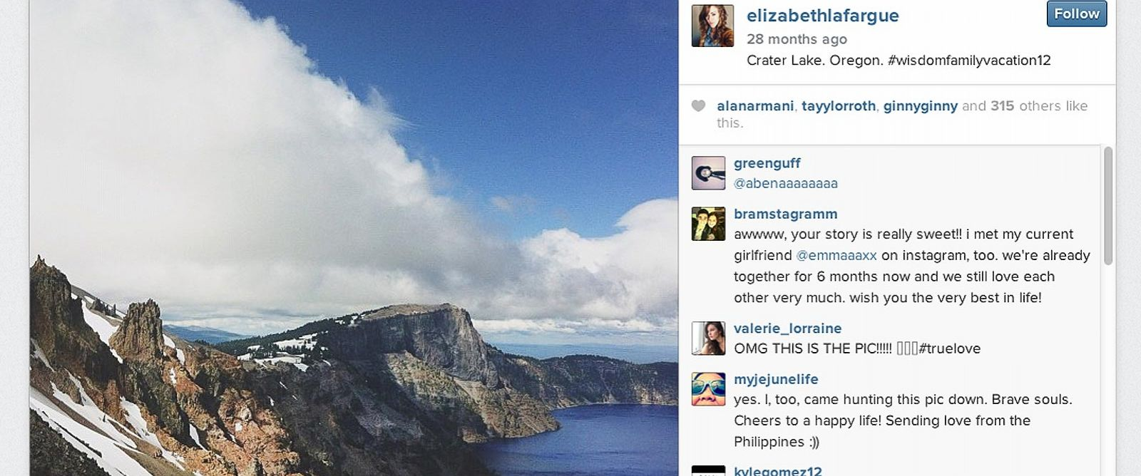 PHOTO: Denis LaFargue began commenting on Elizabeth Wisdoms Instagram feed when he recognized one of the sites she had visited on a family vacation.