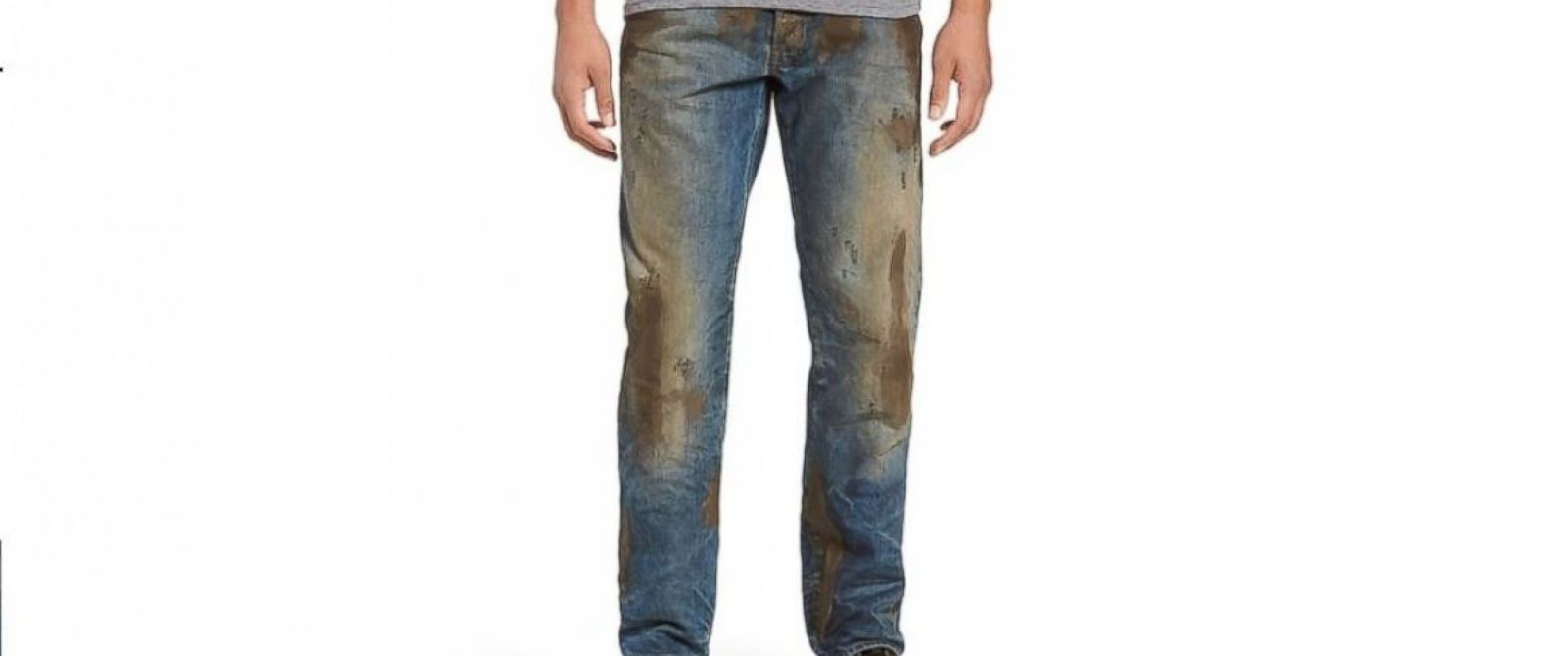"PHOTO: Nordstrom sells the ""Barracuda Straight Leg Jeans"" for $425, which feature fake caked-on mud."
