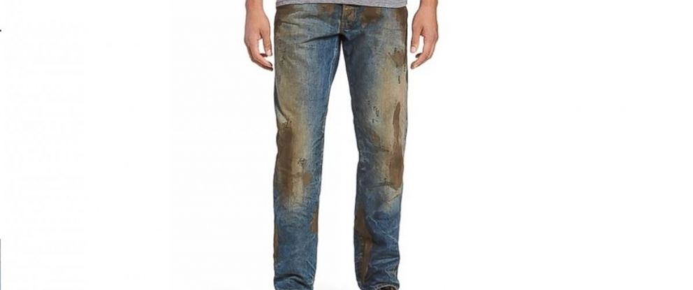 """PHOTO: Nordstrom sells the """"Barracuda Straight Leg Jeans"""" for $425, which feature fake caked-on mud."""