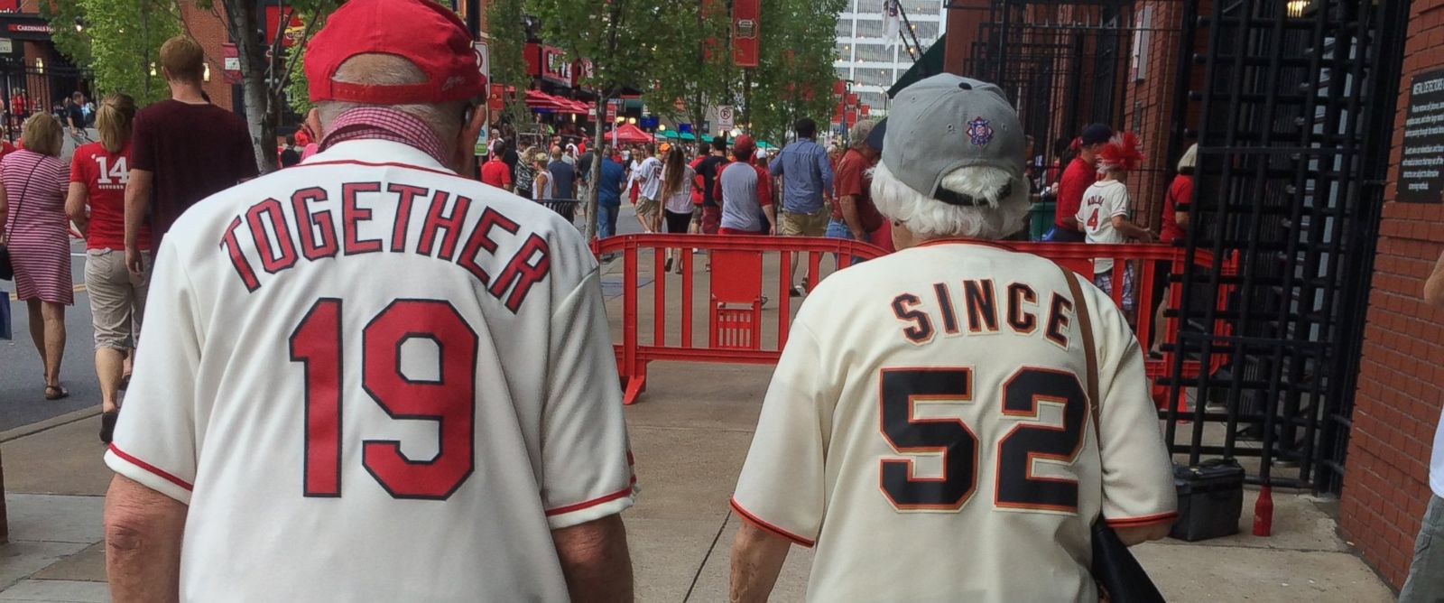 PHOTO: St. Louis Cardinals fan Pete Hubert photographed an elderly couple entering Tuesday nights game in priceless jerseys.