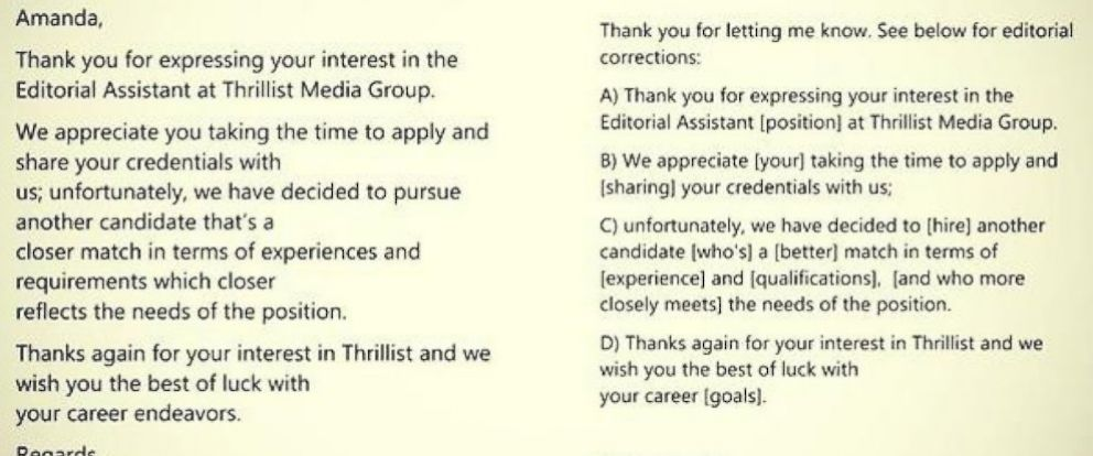 how to respond to a job rejection email sample
