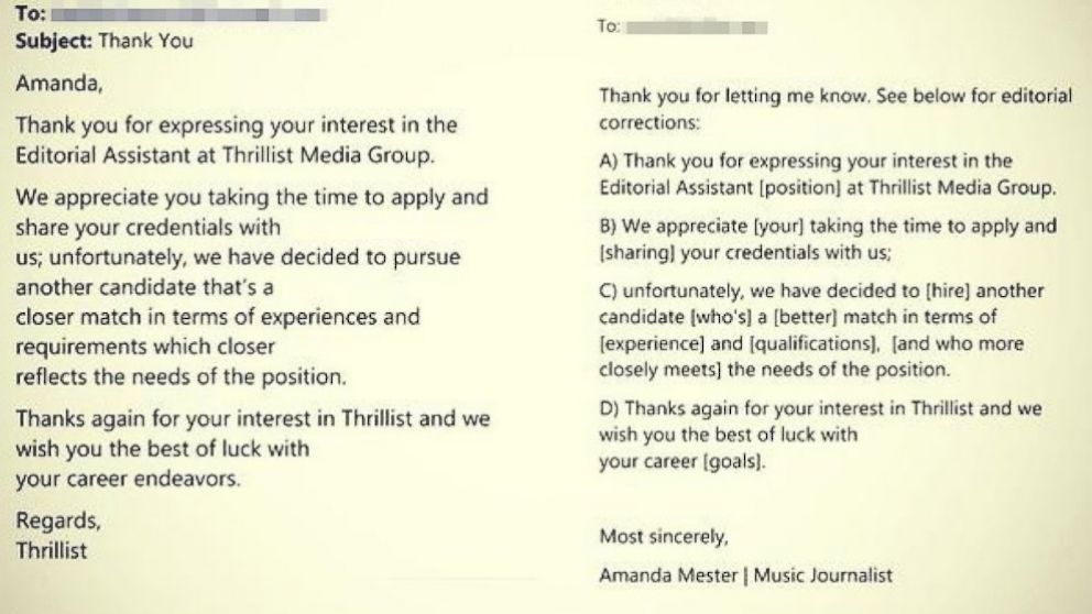 Woman Returns Job Rejection Email With Corrections  Abc News
