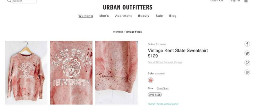 PHOTO: Urban Outfitters generated outrage by offering a Kent State sweatshirt with fake bloodstains as a part of their vintage line.