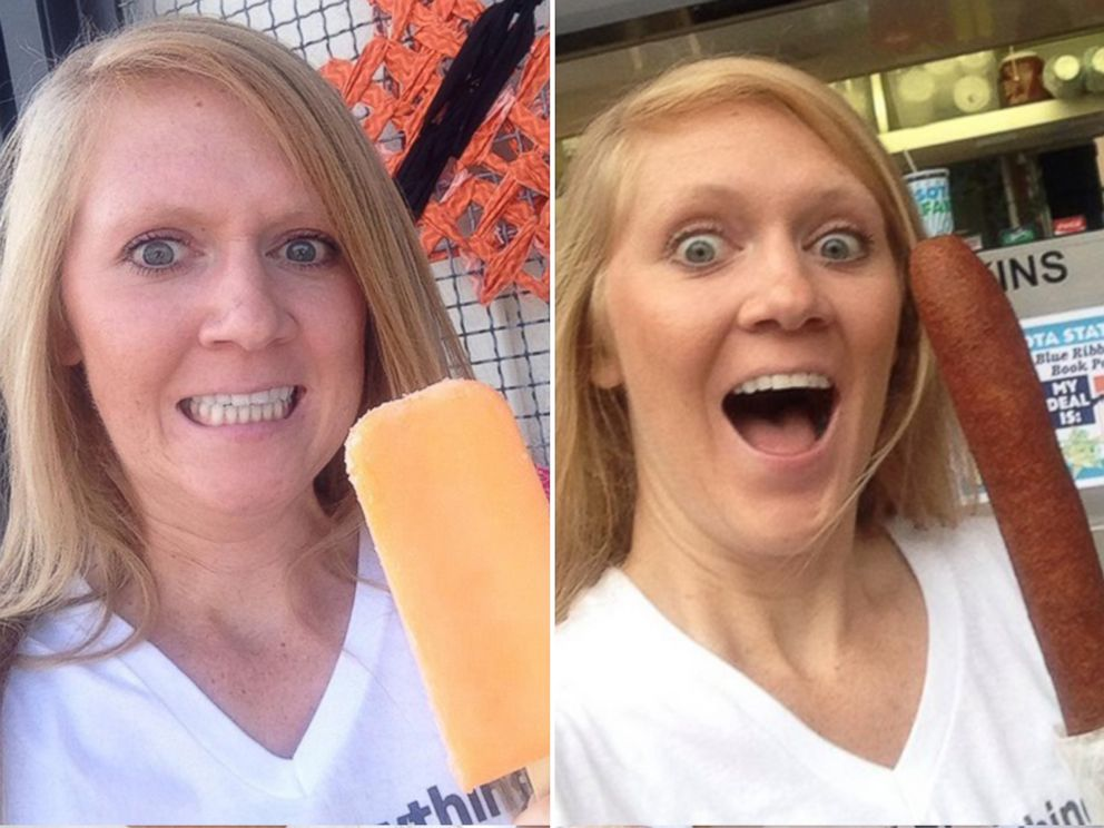 PHOTO: Mandy Colten eating a dreamsicle and a corn dog.