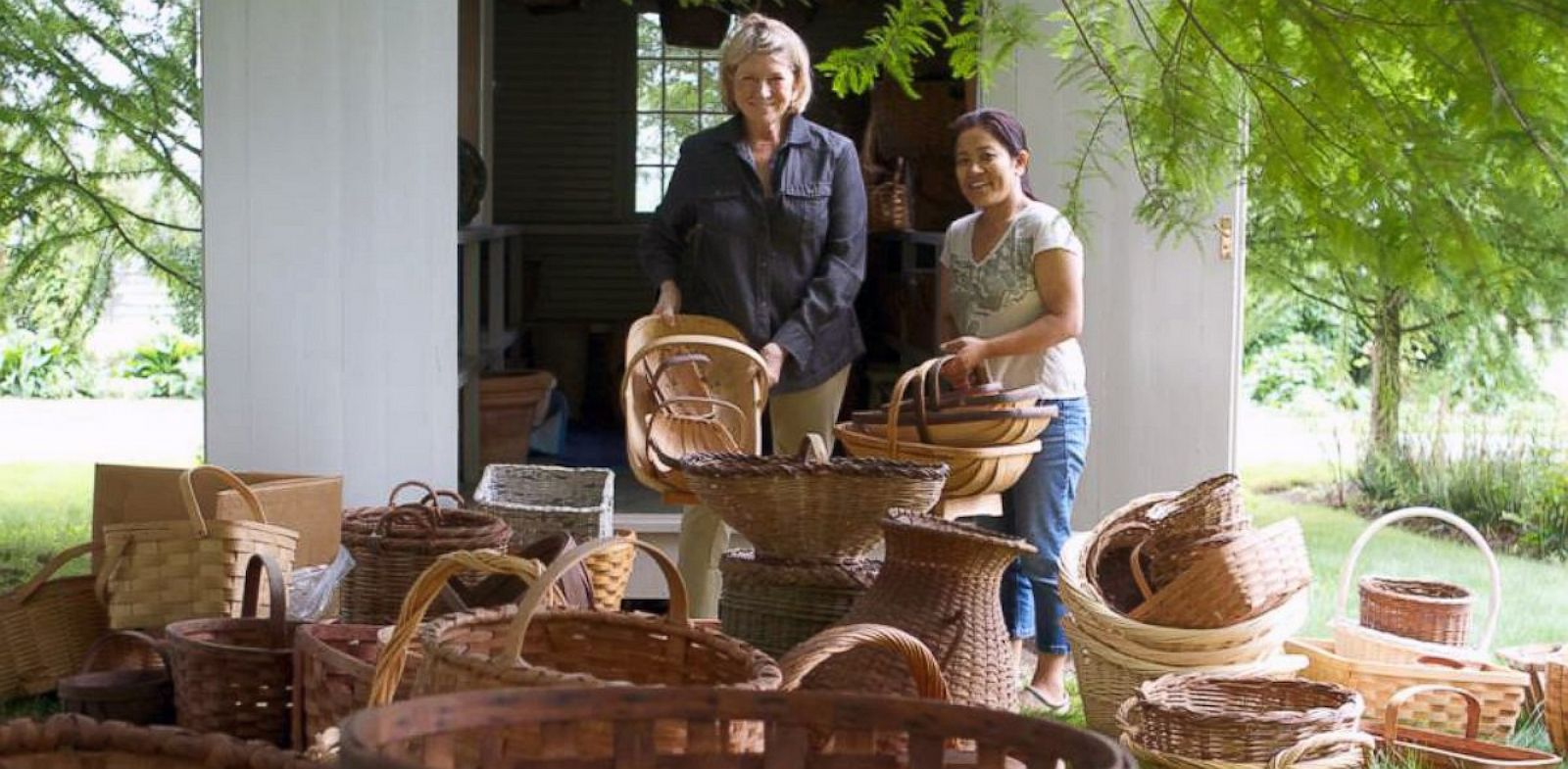 PHOTO: Martha Stewart cleaning out her basket house