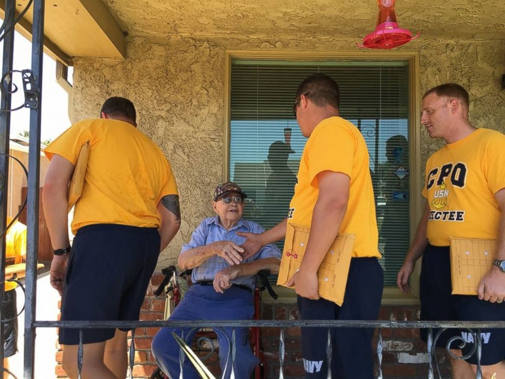 Navy surprises ailing WWII veteran at his home
