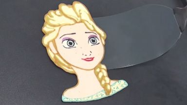 PHOTO: A father and son duo named Tiger Tomato showcases their pancake art skills on their YouTube channel. Pictured is their rendition of Elsa from Frozen.