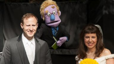 PHOTO: A California couples puppet wedding.