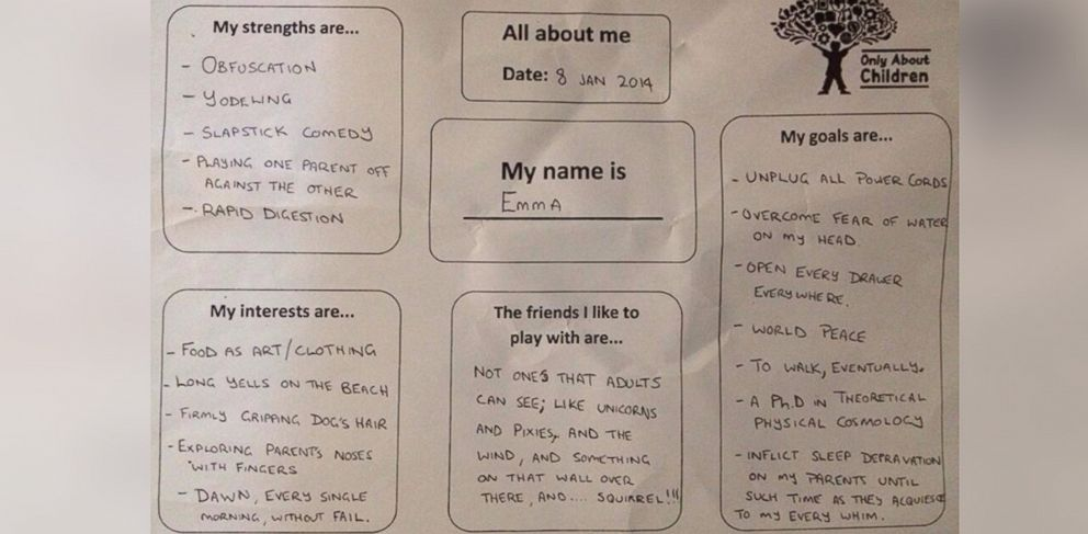 PHOTO: Dads hilarious responses on day-care questionnaire as is he is his 11-month old daughter.
