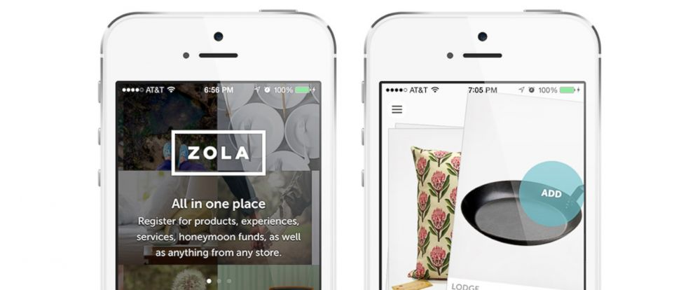 photo the zola app lets couples add gifts to their registry from multiple stores