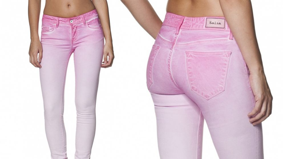 """PHOTO: A Spanish clothing company has created a line of """"fragrance jeans."""" This pink pair smells like strawberry."""