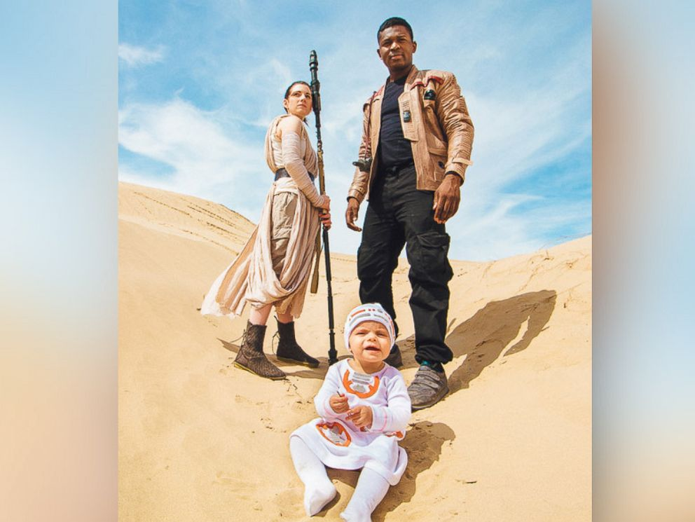 PHOTO: Viral family Victor Sine, his fiancée Julianne Payne and her child Addie pose for their Star Wars themed photo shoot.
