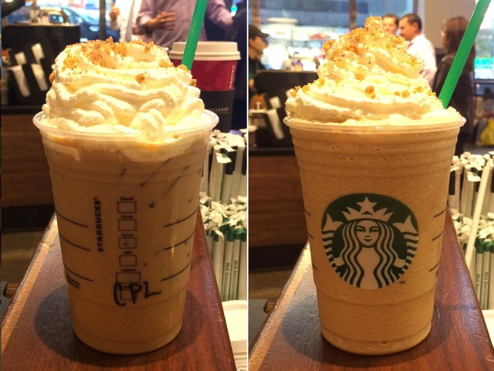 PHOTO: An iced chestnut praline latte and a chestnut praline frappuccino.