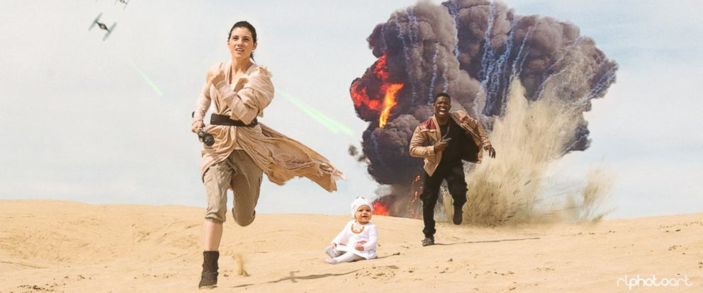 """Viral family Victor Sine, his fiancée Julianne Payne and her child Addie recreated a scene from """"Star Wars: The Force Awakens."""""""