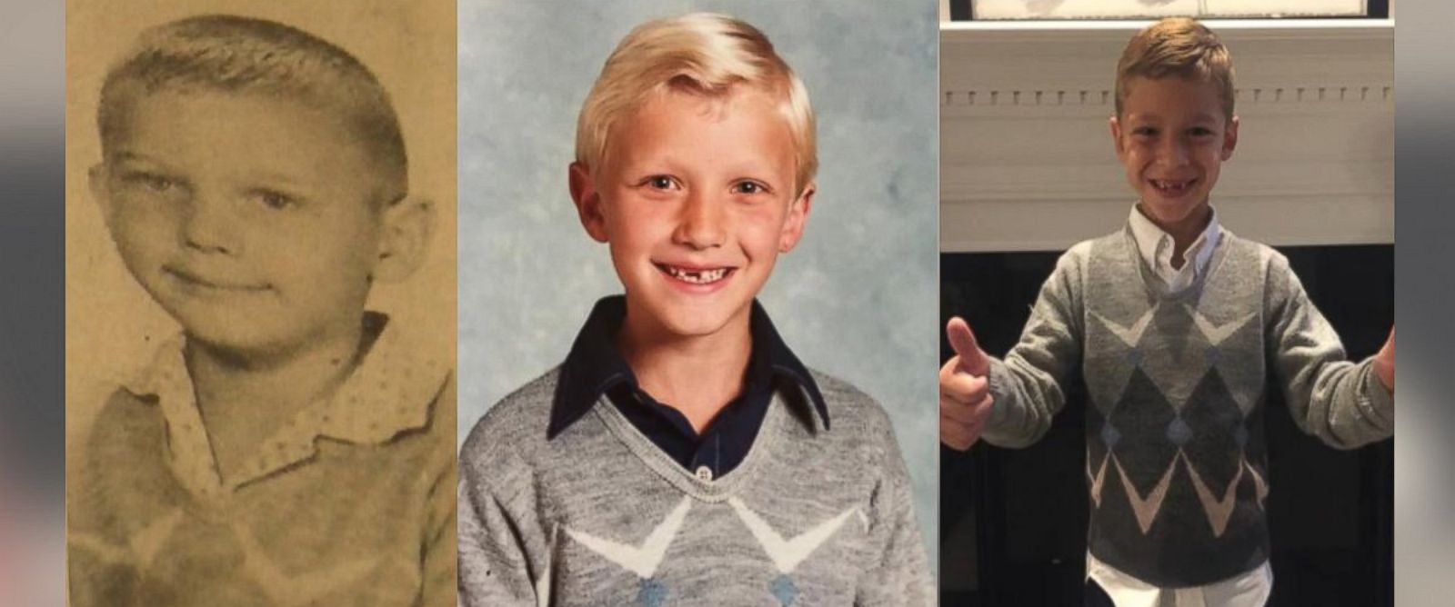 PHOTO: The three generations of boys that have worn the sweater are pictured.