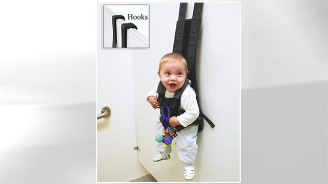 PHOTO: The Babykeeper Basic is an infant carrier style seat, that hangs from the stall wall in most public restrooms, and can also be used in many public fitting rooms and locker rooms.