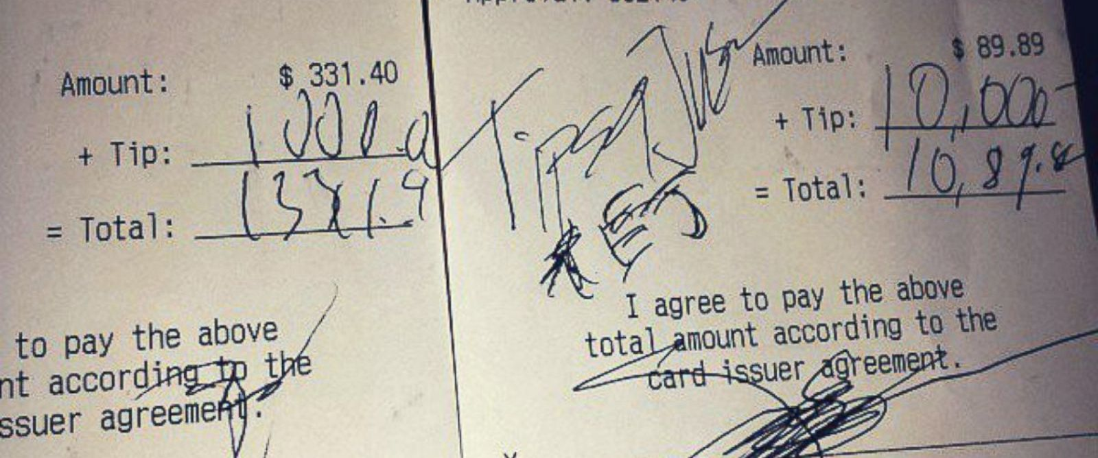 "PHOTO: Instagram user spotty313 showed the $11,000 in tips the anonymous ""Tips for Jesus"" donor left during a visit to an Arizona restaurant."