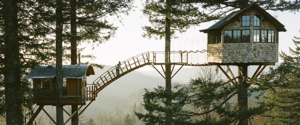 PHOTO: Foster Huntington, 27, has spent the past year building an elaborate pair of tree houses in Skamania County, Washington.