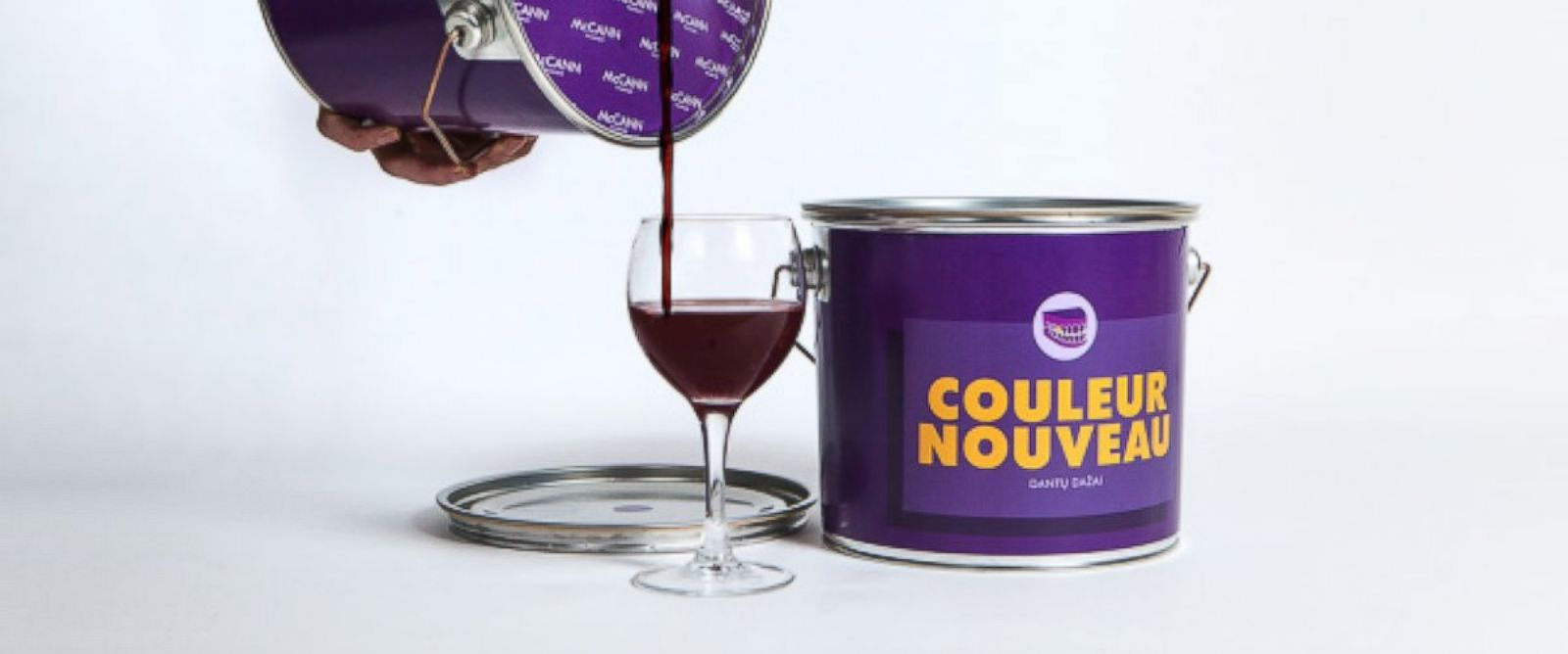 PHOTO: The McCann Vilnius ad agency in Lithuania came up with an unexpected vessel to feature the Couleur Nouveau vintage in -- a purple paint can.
