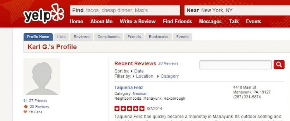 PHOTO: The Yelp profile page for Gregg Gethard is seen in this screenshot made on August 7, 2014.