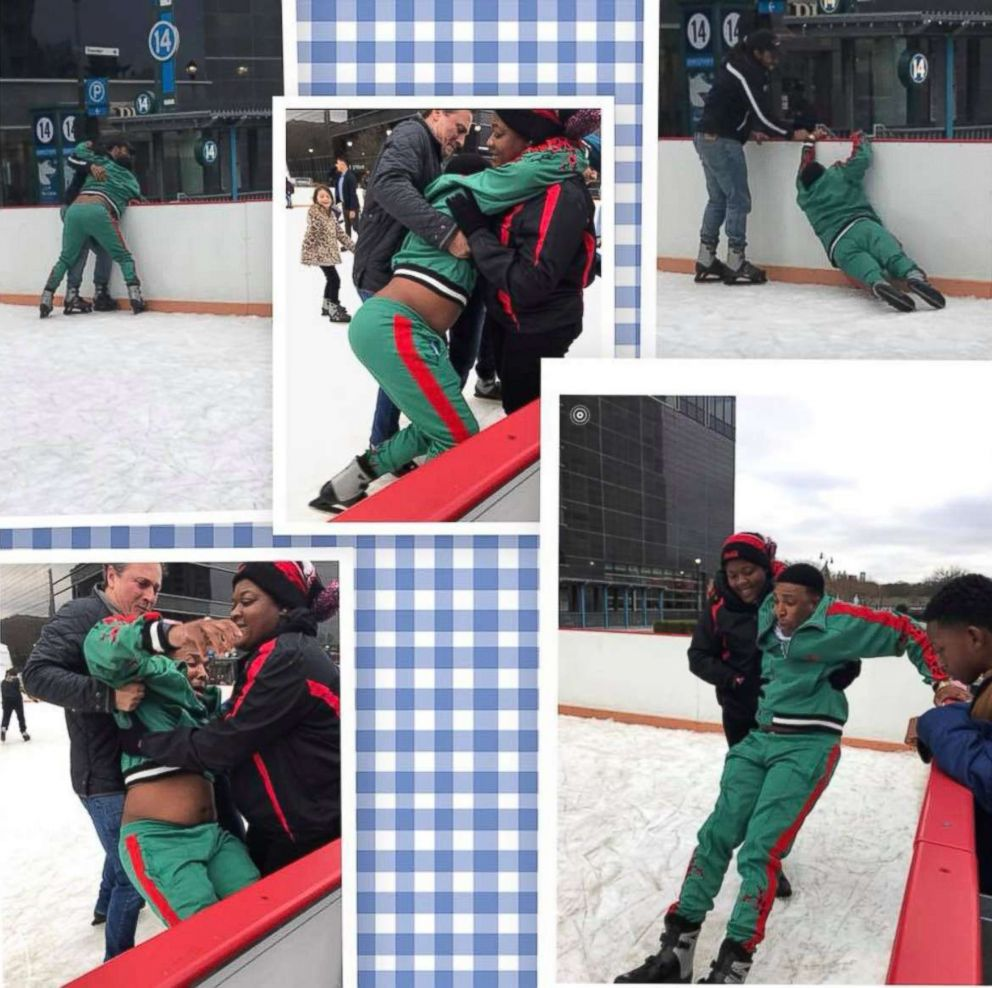 PHOTO: Jermaine Thompsons first ice skating experience has been enjoyed by social media users around the world.