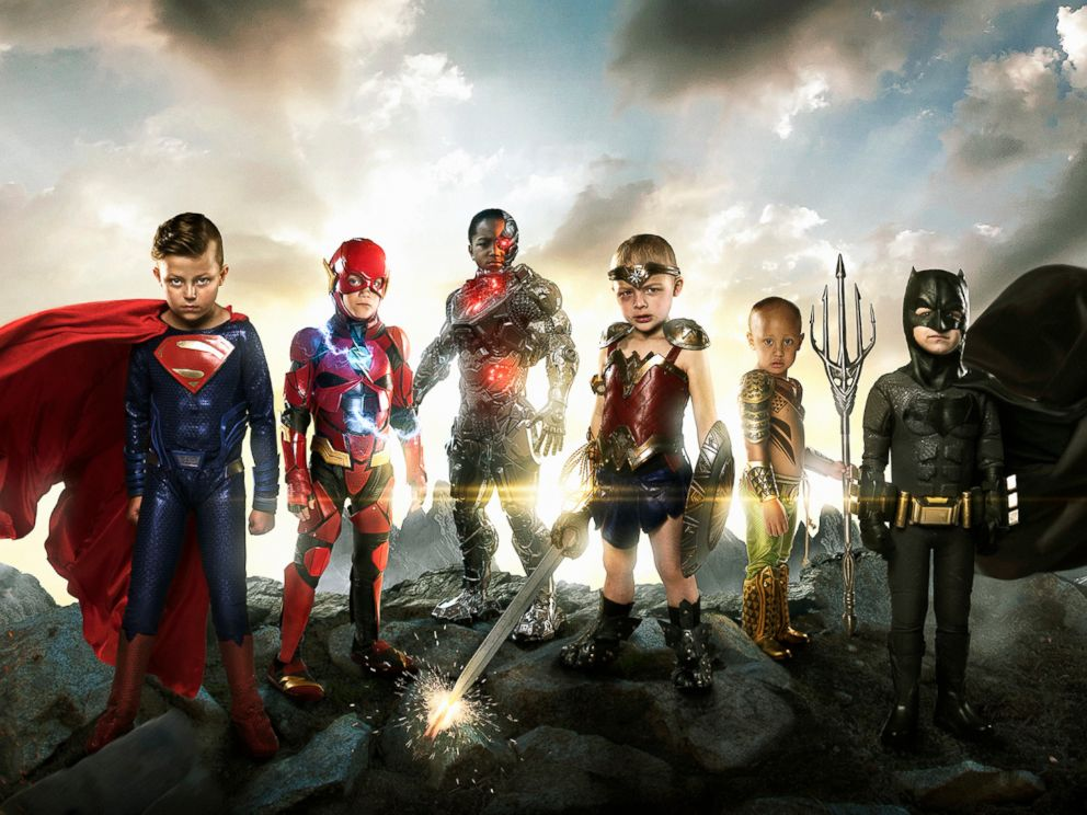 PHOTO: Teagan Pettit as Superman, Simon Fullmer as Batman, Kayden Kinckle as Cyborg, Sofie Loftus as Wonder Woman, Mataese Manuma as Aquaman, and Simon Fullmer as Batman.