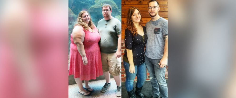 PHOTO: Lexi and Danny Reed before and after their collective 400-pound weight loss.
